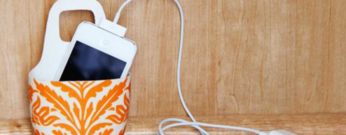 <p>Shampoo bottle as holder for charging mobile phone</p> <p> </p>