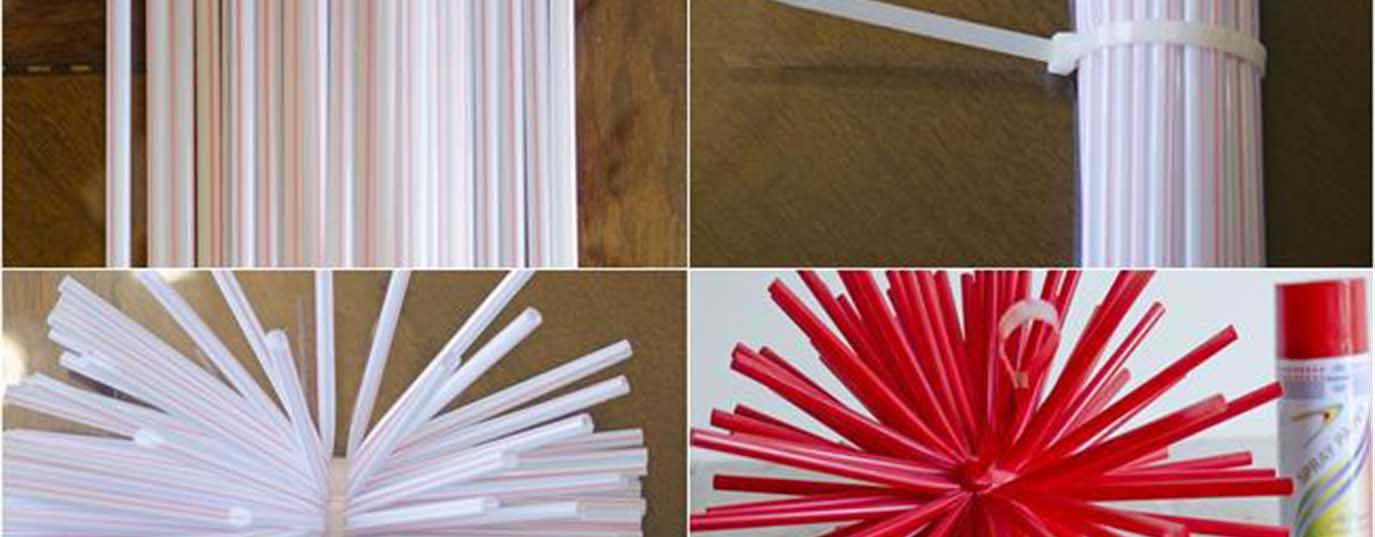<p>Stars with plastic straws</p>