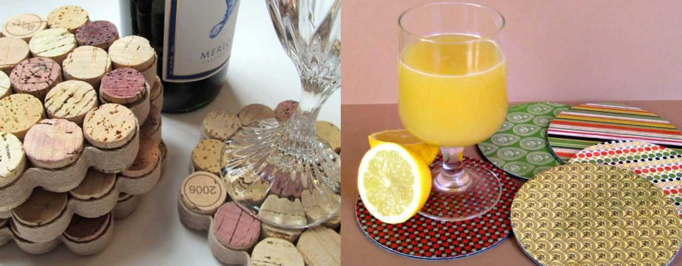 <p>Coasters made from cork and CDs</p> <p> </p>