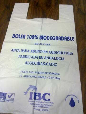 Bolsa biodegradable en 60 días. IBC