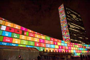 The 17 SDGs decorate the UN headquarters in New York
