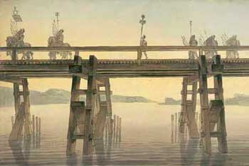 -Caesar's bridge over the Rhine - Painting by John Soane, 1814-