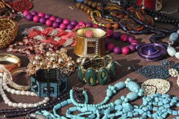 Traditional jewellery at Ipanema Market