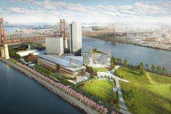 Future passivhaus building recreation on Roosevelt Island in New York